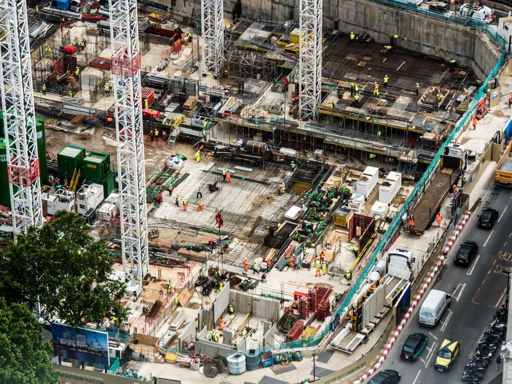 εργοτάξιο και οικοδομές